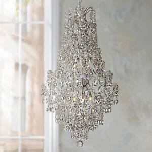Chrome Crystal Pendant Chandelier 18 1 4quot; Modern 5 Light Fixture for Dining Room $499.99