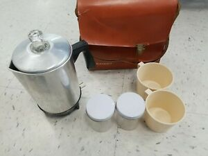 Vintage KOFFEEKIT Camp Coffee Pot Percolator 4 Cup w Travel Bag Mugs Canisters $15.00