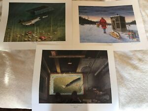 DARKHOUSE SPEARING SET OF 3 PRINTS SIGNED AND NUMBERED BY LES KOUBA. READ DISC $425.00