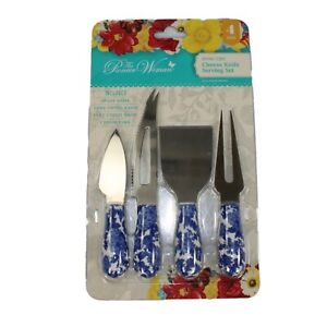 Pioneer Woman 4 Piece Cheese Knife Serving Set Heritage Floral $19.99