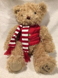 FAO Schwarz Bear Plush Stuffed Animal Toy 12 Inch w Red Vest Striped Scarf $9.88