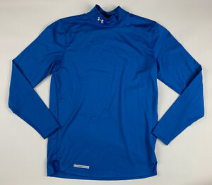 Under Armour Cold Gear Mock Neck Base Layer Mens M Fitted Solid Blue Long Sleeve $24.99