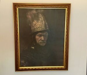 Rembrandt The Man With the Golden Helmet on Canvas Framed 32x26 Art Litho Print $125.00