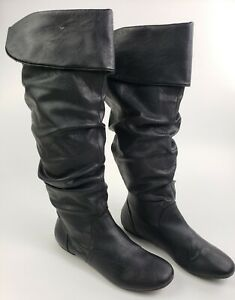 Lower East Side Boots Size 9 Rylee Womens Black Slouch Knee High Slip On Shoes