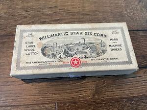 VTG Willimantic Star Six Cord Cotton Sewing Thread BOX ONLY American Thread Co $11.99