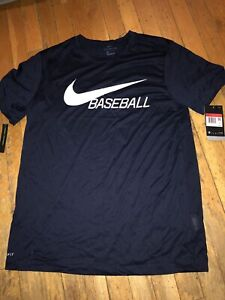 NEW NIKE BSBL Dry Fit Shirt Size L Large Mens Navy Blue DRI FIT Baseball Tee $25.00