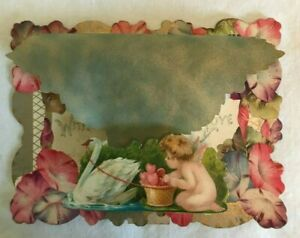 ANTIQUE STAND UP VALENTINE LATE 1800#x27;S EARLY 1900#x27;S CUPID SWAN FLORAL 3DORG BOX $28.95