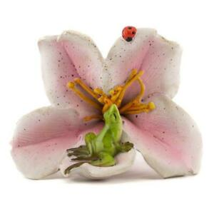 Miniature Green Frog Sitting on a Pink Lily Use as Home Decor Fairy Garden