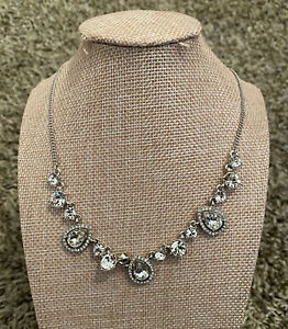 NEW Givenchy Silver Tone Crystal Necklace $78 NWT FREE Shipping $21.99