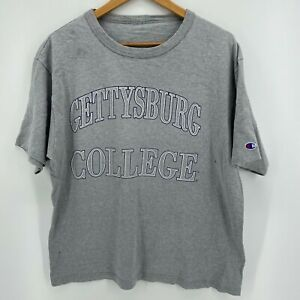 Champion T Shirt Mens L Gray Gettysburg College Short Sleeve Crew Neck $12.95
