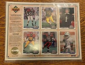 1992 UNCUT UPPER DECK FOOTBALL LIMITED EDITION COMMEMORATIVE SHEET #7512 Sheet 3 $6.88