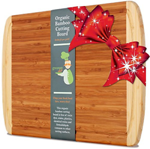 Greener Chef Extra Large Bamboo Cutting Board Lifetime Replacement Cutting for