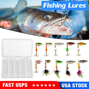 10pcs Fishing Lures Bass Lures Trout Lures Hard Metal Spinner Baits Kit New