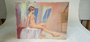 NUDE PORTRAIT VINTAGE PAINTING RETRO 1980s? NAKED WOMAN 24x18 $49.99