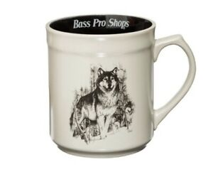 HTF Wolf Coffee Mug Hunting WildLife Bass Pro Shop 16 oz Excellent condition
