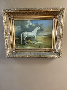 Antique Oil painting 19thC Horse $275.00