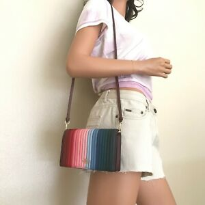 NWT Coach Rainbow Quilted Leather Foldover Crossbody Clutch Bag