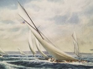 Antique Original Paintimg America#x27;s Cup 1903 Sailboat Race Kay Miller $595.00