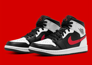 Nike Air Jordan 1 Mid Shoes Black White Chile Red 554724 075 Men#x27;s or GS NEW $180.00