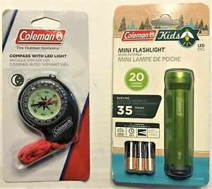 Coleman Compass and Mini Flashlight Set Camping Hiking Outdoor Sporting Goods