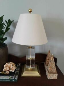 Victoria Hagan Perfect Pieces Cubed Crystal with Gilded Base Table Lamp