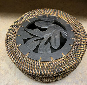 Vintage Handwoven Lidded Basket With Wood Frog quot;Bali Basketquot; from Indonesia