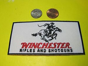 WINCHESTER FIREARMS VEST PATCH 2 X 4 INCH IRON ON or SEW ON GUN PATCH CAPS ETC $3.60
