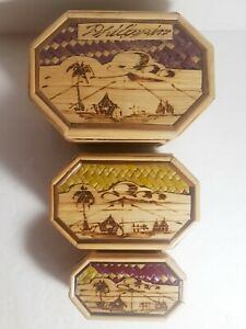 Set of 3 Phillippines Octagon Straw Nesting Trinket Sewing Boxes Lined B4 $18.00