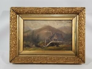 Antique original oil painting on canvas Landscape Mill Water Wheel Unsigned $157.50