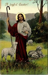 Joyful Easter Jesus Holding Lamb in Meadow Postcard Posted c1910 $7.25
