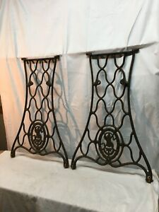 VTG Singer Sewing Machine CAST IRON Pair Treadle Base Legs Side Table Industrial $148.50