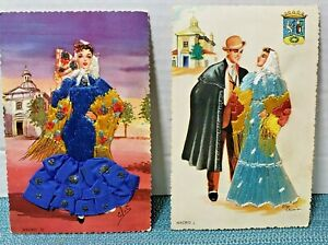 Two vintage embroidered Spanish postcards featuring traditional costumes $20.00