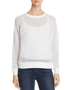 Eileen Fisher Open Knit Raglan Sweater White Size Large $29.99