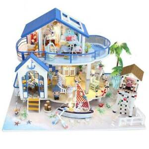 DIY Miniature Dollhouse Wooden Kit with Furniture LED Lights Gift Dream House US $28.49