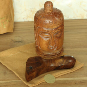 Tiger Curved Hand Carved Smoking Pipe Premium Wood amp; Head Grinder with Suede Bag $16.98