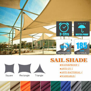 Sun Shade Sail Outdoor Patio Top Canopy Cover UV Block Triangle Square Rectangle $29.99
