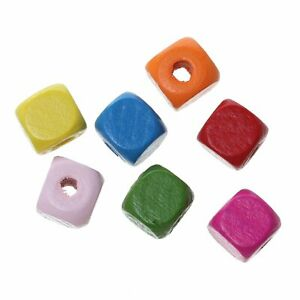 900 Multicolor Square Wood Beads Bulk 10mm Square Wood Beads with 3mm Large Hole $14.05