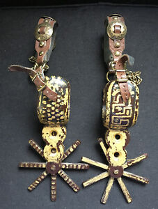 Vintage SPURS 8 Point Star Mexican Spanish Metal Spurs Charro Cowboy Western