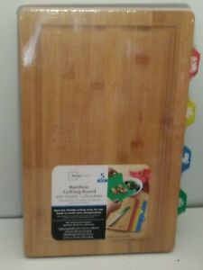 Mainstays Bamboo Cutting Board With Flexible Cutting Mats 5pc 🥩🍗🍤🥕New Sealed