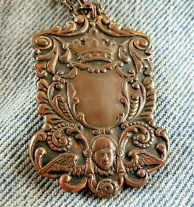 Vintage Copper Pocket Watch Fob Pendant Necklace Award Crown Angle Cherub Europe $37.50