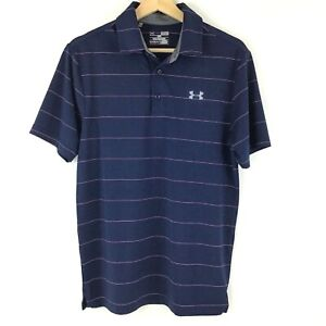 Under Armour Golf Polo Shirt Small Blue Stripes Loose Fit Short Sleeve Polyester $19.99