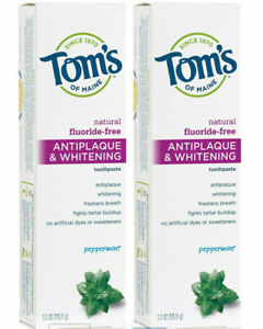 2 Pack Tom#x27;s of Maine Fluoride Free Antiplaque amp; Whitening 5.5 Ounce