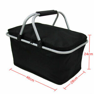Thermal insulated folding picnic basket lunch storage bag cooler outdoor camping