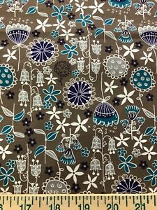 Floral Purple White Teal Brown 17quot; cut x 44quot; Sewing Cotton Quilt Fabric $1.00 $1.00