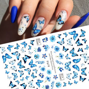 3D Geometric Butterfly Nail Art Stickers Holographics UV Gel Nail Decoration Tip