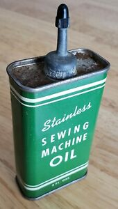 Vintage Stainless Sewing Machine Oil Can Handy Oiler Lead Top Spout 4 oz Gas $26.98