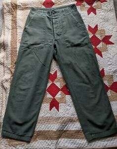 Vintage Military 60s OG 107 Pants 28x26 Green Fatigues Baker Button Fly Cotton $68.00