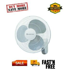 16 in. Quiet 3 Speed Wall Mount Fan with Remote Control Timer Adjustable Tilt