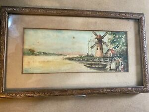 Antique quot;Landscape With Windmill Scenequot; Watercolor Painting Framed $158.00