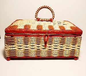 Vintage Wicker Sewing Basket Estate Sale Find with Music Box and Sewing items $18.00
